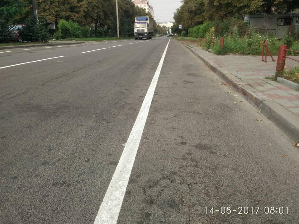 Минулої ночі велосмуги були нанесені пластиковою розміткою на вулиці Пулюя